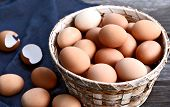 Healthy And Benefits Of Chicken Egg. Many Chicken Eggs In Basket On Wooden Background. poster