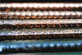 Old Rusty And Wet Iron Grate In Close Up Picture. Wet Iron Fence Background At Prison. Vintage Old M poster