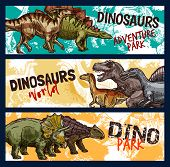 Dinosaur World Banners For Dino Adventure Park Design. Jurassic Monsters Sketch With Tyrannosaurus R poster