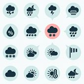 Weather Icons Set With Light, Sunset, Partly Cloudy And Other Flash Elements. Isolated Vector Illust poster