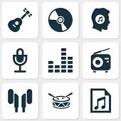 Audio Icons Set With Radio, Microphone, Vinyl And Other Mike Elements. Isolated Vector Illustration  poster