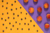 Many Juicy Beautiful Amazing Nice Peaches And Blueberries On Violet And Yellow Surface. Beautiful Fo poster