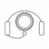 Cogwheel And Headset Icon In Outline Style On A White Background poster