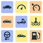 Automobile Icons Set With Key, Sports Automobile, Auto Hood And Other Bonnet Open Elements. Isolated poster