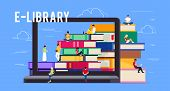 E-library. Concept Of Electronic Library Online. Young People Sitting On Piles Of Books. Template Ba poster