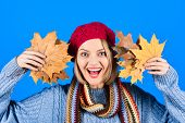 Happy Smiling Woman With Stylish Clothes And Autumnal Maple Yellow Leaf In Hand. Woman In Colorful H poster