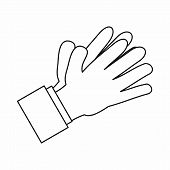 Clapping Applauding Hands Icon In Outline Style Isolated Illustration poster