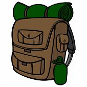 Hiking Backpack - A Vector Cartoon Illustration Of A Hiking Backpack. poster