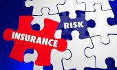 Insurance Coverage Vs Risk Avoid Liability Puzzle Words 3d Illustration poster