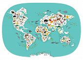 Cartoon Animal World Map For Children And Kids, Animals From All Over The World, White Continents An poster