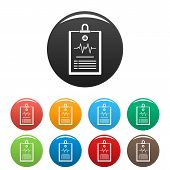 Cardiogram On Tablet Icon. Simple Illustration Of Cardiogram On Tablet Icons Set Color Isolated On W poster