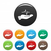 Heartbeat Icon. Simple Illustration Of Heartbeat Icons Set Color Isolated On White poster