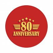 80 Anniversary Sign. Element Of Anniversary Sign. Premium Quality Graphic Design Icon In Badge Style poster