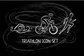 Triathlon Hand Drawn Icon For Designing Sport Event Or Marathon Or Competition Or Triathlon Team Or poster