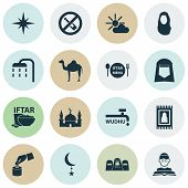 Religion Icons Set With Forbidden, Imam, Ghusl And Other Nachmittag Elements. Isolated  Illustration poster