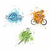 Triathlon Hand Drawn Icon For Designing Sport Event Or Marathon Or Competition Or Triathlon Team Or poster