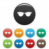 Eyeglasses For Blind Icon. Simple Illustration Of Eyeglasses For Blind Icons Set Color Isolated On W poster