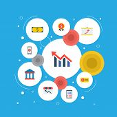 Set Of Finance Icons Flat Style Symbols With Calculator, Financial Award, Financial App And Other Ic poster