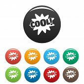 Comic Boom Cool Icon. Simple Illustration Of Comic Boom Cool Icons Set Color Isolated On White poster