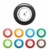 Clock Minimal Icon. Simple Illustration Of Clock Minimal Icons Set Color Isolated On White poster
