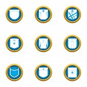 Outside Pocket Icons Set. Flat Set Of 9 Outside Pocket Vector Icons For Web Isolated On White Backgr poster
