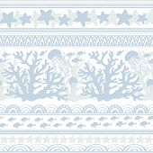 Stripe Seamless Pattern With Sea Underwater Animals. Cute Jellyfish, Coral, Starfish And Tropical Fi poster