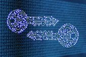 Encryption And Cryptography Conceptual Illustration: Digital Keys With Led Lights On Binary Code Bac poster