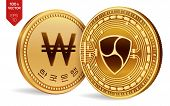 Nem. Won. 3d Isometric Physical Coins. Digital Currency. Korea Won Coin. Cryptocurrency. Golden Coin poster