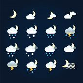 Weather Icons Sun And Clouds In Night Sky, Rain With Snow, Thunder And Lightning. Flat Vector Weathe poster