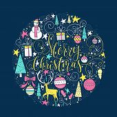 Christmas Greeting Card Made In Vector. Perfect Handmade Lettering For Holiday Decorations. Trendy N poster
