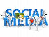 stock photo of  media  - Social media concept over white - JPG