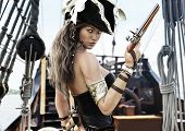 Profile Of A Sexy Pirate Female Captain Standing On The Deck Of Her Ship With Pistol In Hand. 3d Ren poster