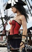 Profile Of A Sexy Pirate Female Captain Standing On The Deck Of Her Ship.pistol And Sword In Hand Re poster
