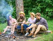 Best Friends Spend Leisure Weekend Hike Barbecue Forest Nature Background. Company Friends Picnic Or poster