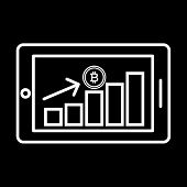 Bitcoin Financial Growth Graph. Financial Growth On Bitcoin. Vector Bitcoin Growth Graph On White Ba poster