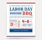 Labor Day Bbq Invitation Template - Labor Day Usa Grill Party Flyer Design - Vector Illustration Ret poster
