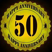 stock photo of 50th  - Symbol Sign stamp celebrating 50th wedding anniversary - JPG