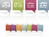 image of movable  - Camping icons to illustrate miscellaneous camping features from left to right: 