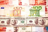 Money Of Different Countries: Us Dollar, Euro, Rouble