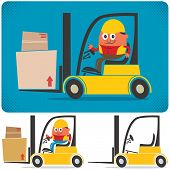 stock photo of heavy equipment operator  - Cartoon illustration of forklift with and without driver - JPG