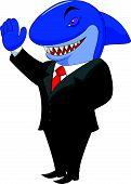 stock photo of loan-shark  - Vector illustration of Business shark cartoon isolated on white background - JPG