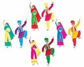 picture of salwar  - an illustration of traditional punjabi bhangra dancing with four couples dressed in colorful costumes on a white background - JPG