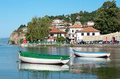 two row boats in the bay of Ohrid Town on Ohrid Lake, Republic of Macedonia