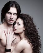 picture of gothic female  - glamorous portrait of a pair of vampire lovers - JPG