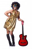 image of transexual  - Man in woman clothing with guitar - JPG