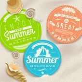 Summer vacation and travel labels and sea shells on a beach sand - vector illustration. (elements ou