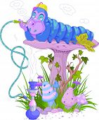 image of caterpillar cartoon  - The Blue Caterpillar using a hookah - JPG