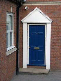 stock photo of front door  - A blue front door - JPG