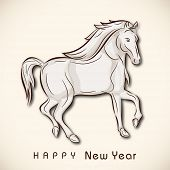 pic of chinese new year horse  - Happy New Year 2014 celebration flyer - JPG