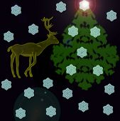 Deer Near A Christmas Fur-tree